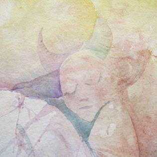 detalj, akvarell, Månflickan av Ganga