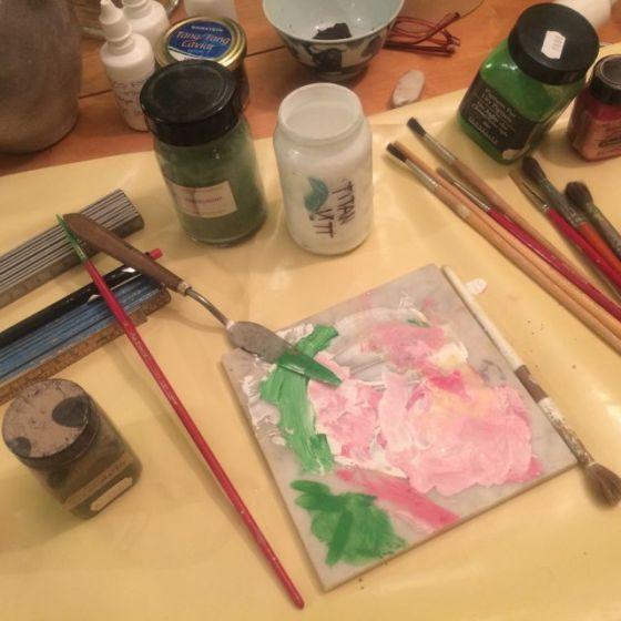 palett, äggoljefärg