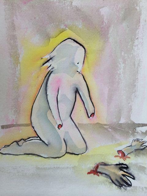 akvarell, utan händer