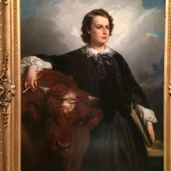 Rosa Bonheur avbildad med tjur