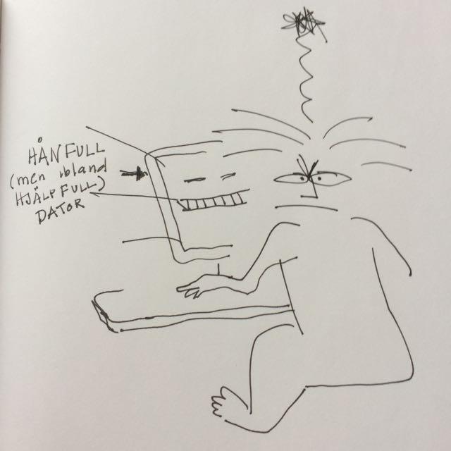 vid datorn. teckning av Ganga