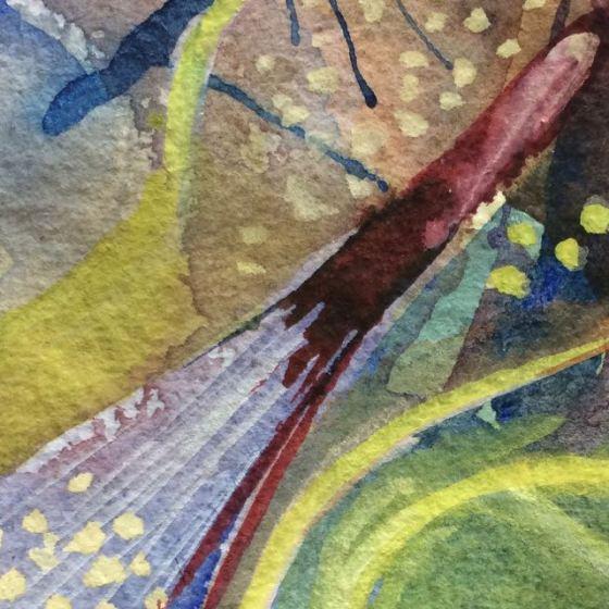 "akvarell, detalj, ""Årstider"" av Ganga"