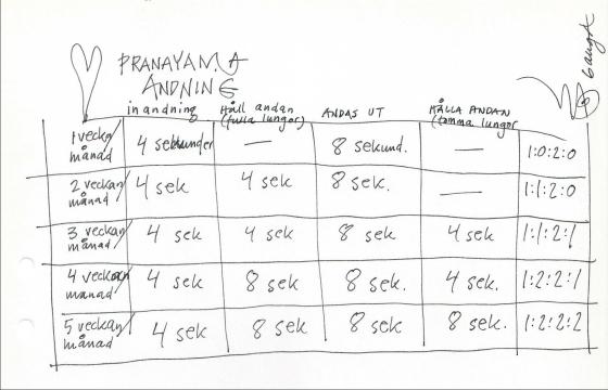 Schema för Pranayama andninng, 4-kant