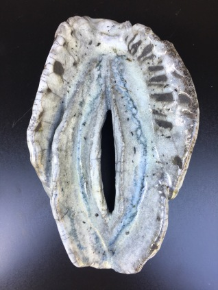 FOREST LAVA,Raku Vagina, by Ganga. ceramic, raku technique. lokal clay. hight 24cm, width 17cm, depth 12cm. weight 1 600g