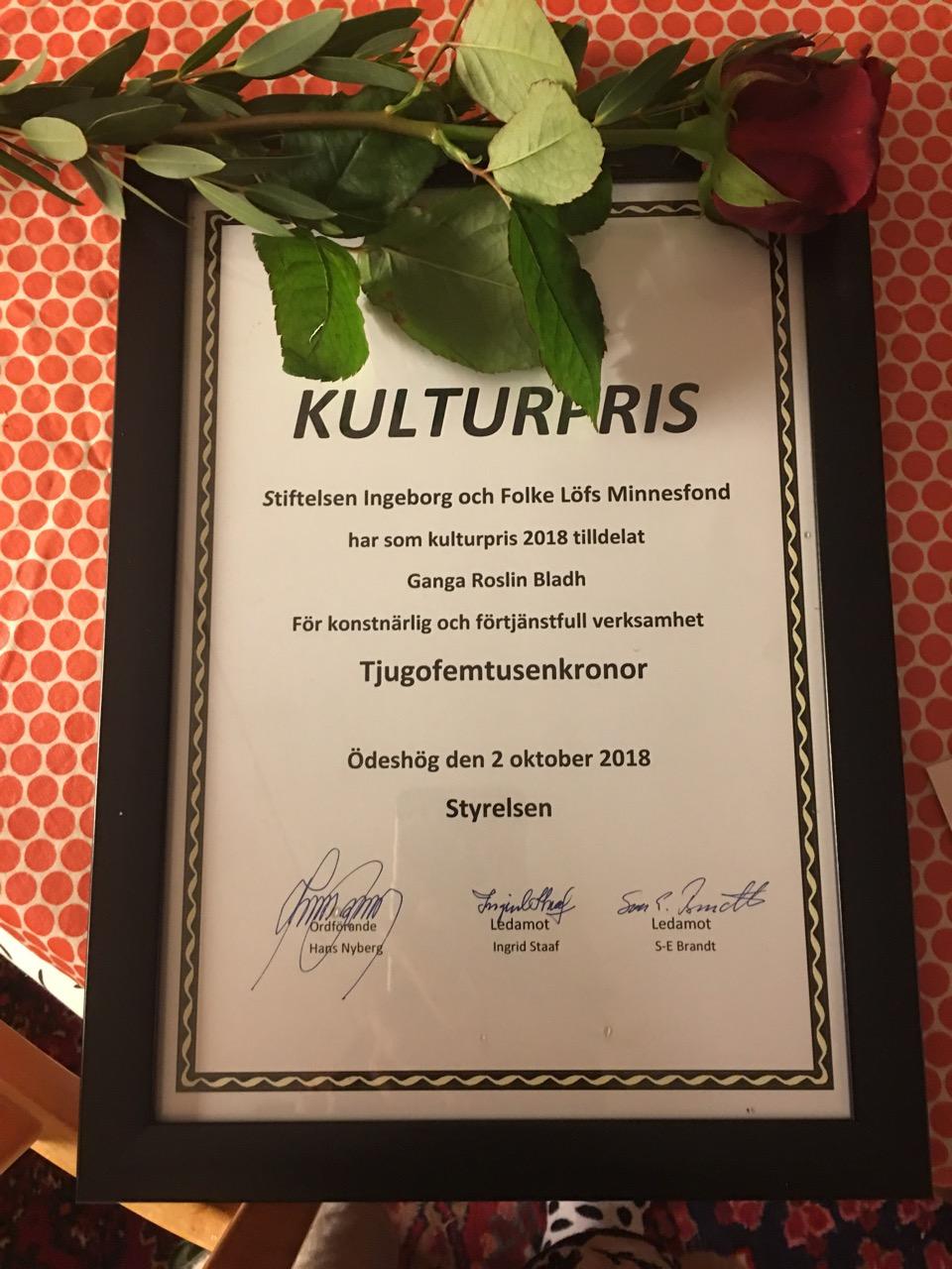 kulturpris 2018, Ganga Roslin Bladh, Löfs
