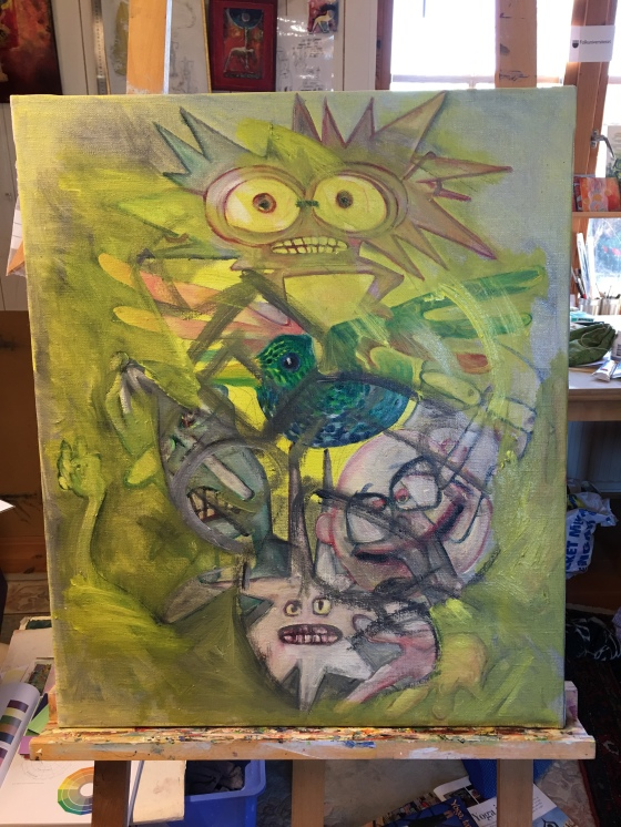 Målning under arbete