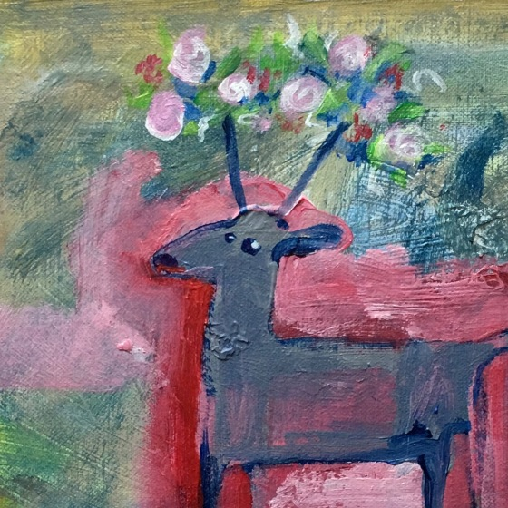 lilla Rådjur med blommor