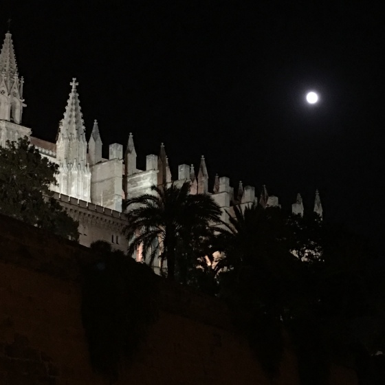 Fullmåne, katedralen i Palma