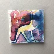 PROCESS, av Ganga. akvarell glasad 23x23, bild 9x9cm