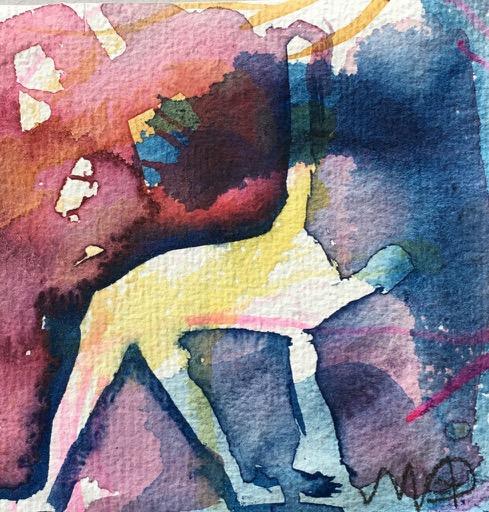 jag gör yoga, akvarell av Ganga