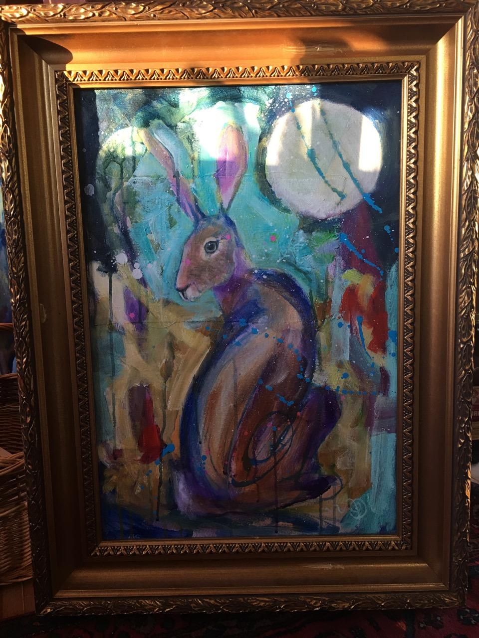 Hare, målning under arbete av Ganga
